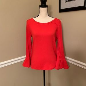GORGEOUS J. Crew ribbed top with ruffle sleeves